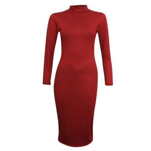 Fashion 4 inférieure à manches longues et col roulé pour femme Uni Robe Midi Rouge - Bordeaux