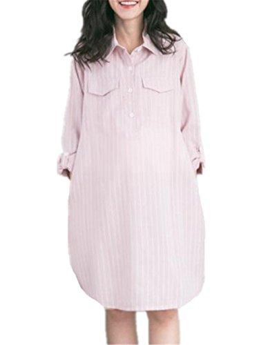 BESTHOO Still Kleid Damen Sommer Elegantes und Bequemes Umstandskleid Schwangere Revers Gestreift Kleid Shirt-Kleid Mit Reißverschluss (Shirt Reißverschluss-job)