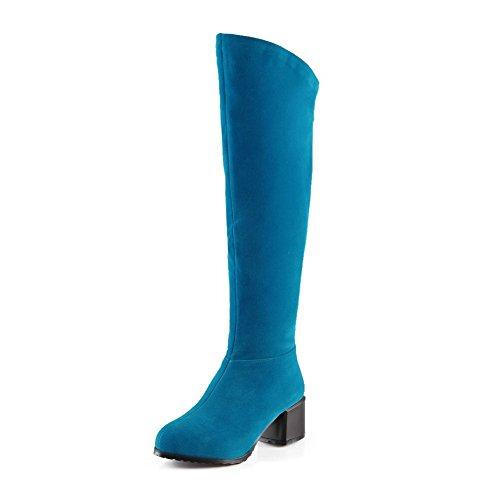 AllhqFashion Damen Hoch-Spitze Ziehen auf Mittler Absatz Rund Zehe Stiefel mit Metallisch, Schwarz, 37