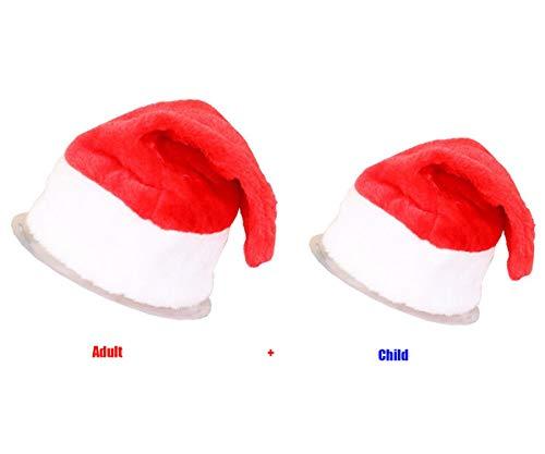 Amphia Weihnachtsmütze - Kinderweihnachtsmütze 2 Stück (1 Kind + 1 Erwachsener) - 2Pcs / Set Weihnachtsfeier-Weihnachtsmannmütze-rote und weiße Kappe für Weihnachtsmann-Kostüm
