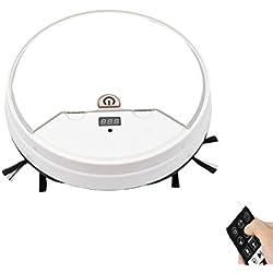LAHappy Robot Aspirateur 3 en 1, Robot Aspirateur 1800Pa,Fonction Balai, Aspirateur Et Laveur De Sol, avec Un Réservoir d'eau, Fonctionnement Facile 1 Touche,Blanc