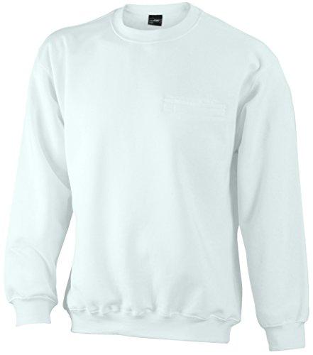 2da93ff93e09d0 James Nicholson Herren Round Sweat Pocket Sweatshirt Weiß White ...