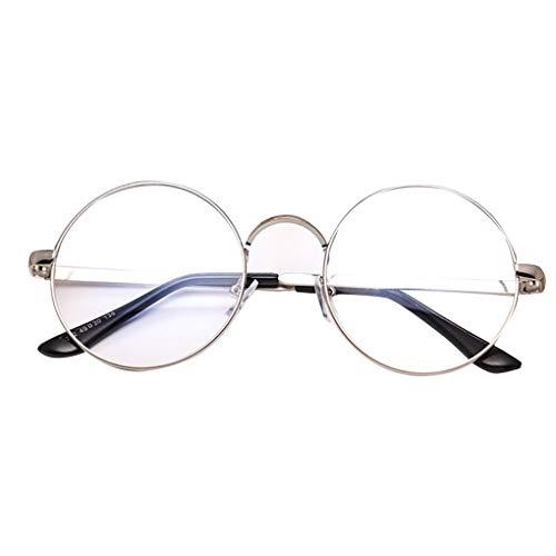 Idyandyans Männer Frauen Schlanke Metallrahmen-Runde Brillen Unisex Retro Metall-freie Objektiv-Glas-Rahmen Myopic