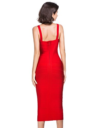 Alice & Elmer Damen Rayon Knielang Bodycon Evening Cocktailkleid Bandage Party Dress Abend Club Kleid Rot
