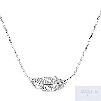 Collier plume horizontale argent 925 ou Plaqué Or - Collier plume taille réglable - Plume argent/Or plume argentée