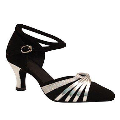 XIAMUO Anpassbare Damen Tanz Schuhe Beflockung Latin/moderne Sandalen/Fersen angepasste Ferse Professional/innen Schwarz Schwarz