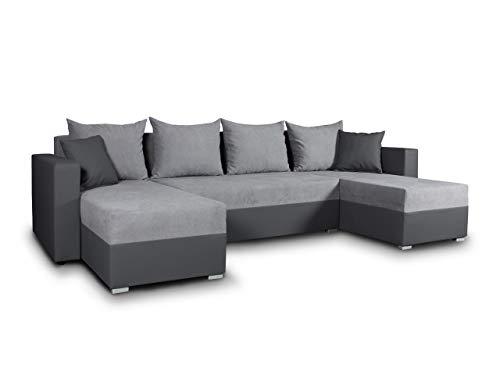 Wohnlandschaft mit Schlaffunktion Beno - U-Form Couch, Ecksofa mit Bettkasten, Couchgranitur mit Bettfunktion, Polsterecke, Big Sofa, Polstergarnitur (Dunkelgrau + Grau (Cayenne 1118 + Enjoy 21)) (Sofa Big)