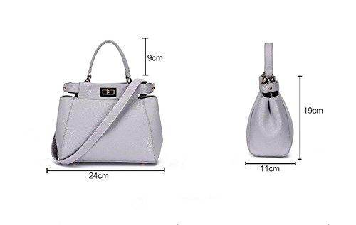 LDMB Damen-handtaschen Einfache wilde PU-lederne Nubuck Schulter-Kurier-Beutel-Handtaschen-feste Farben-Einkaufstasche für Frauen und Mädchen all-match ash