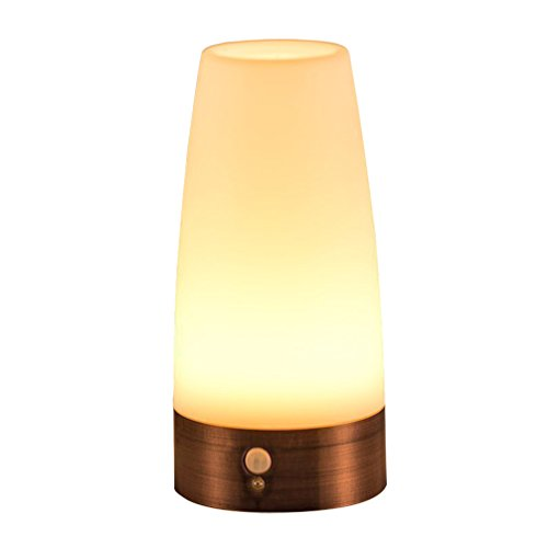 gsmelder Tischleuchte Nachtlicht LED-Tischlampe mit kabellosem PIR-Bewegungssensor warmweiß (Rund) (Tisch Lampe, Klein)