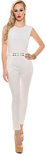 Eleganter KouCla Overall mit Goldschnalle in versch. Farben & Größen - Jumpsuit Rückenfrei (K6721) creme Gr. M