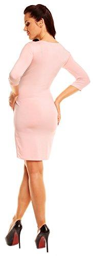 Zeta Ville - maternité - robe jersey de grossesse - robe plissé - femme - 001c Poudre Rose