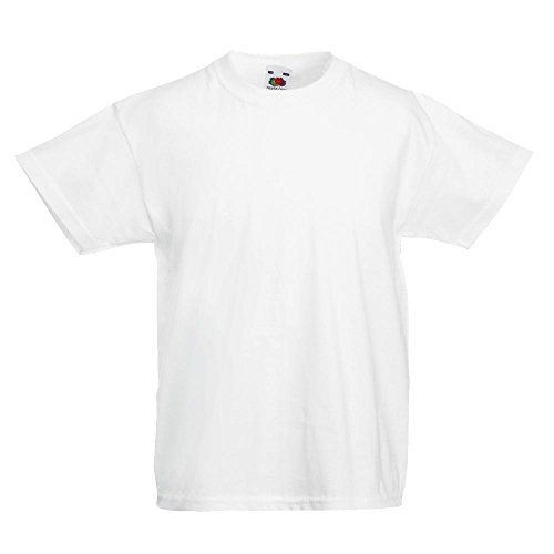 Fruit of the Loom Childrens T Shirt in White Size 7-8 (SS6B)