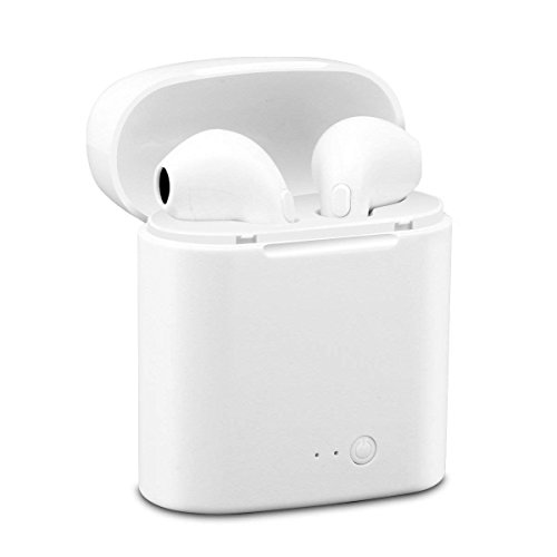 Auriculares Bluetooth con micrófono Integrado,  Dos Auriculares y Caja de Carga,  Compatible con Apple Samsung y Android,  teléfono Inteligente iOS- Blanco