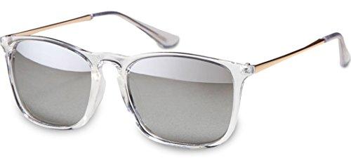 UVprotect unisex Retro Wayfarer Style Sonnenbrille transparent metall bügel transparent verspiegelt W82-1
