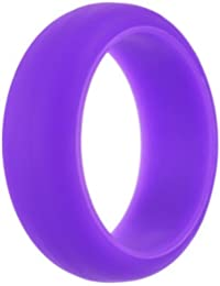 Hexawata Silicone Wedding Ring For Women, Affordable Silicone Rubber Wedding Bands,Size 6,Purple