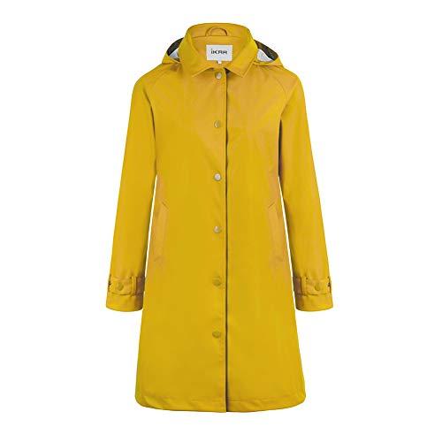 S.IKRR Damen Regenjacke Regenmantel Softshelljacke Friesennerz Parka PU Windbreaker Mit Kapuze Wasserdicht, New Sunny Yellow, XL
