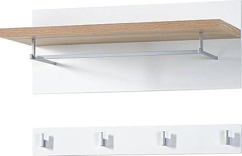 Germania 3193-178 2-tlg. Garderobenpaneel GW-Top in Weiß/Absetzung Sonoma-Eiche-Nachbildung, 76 x 45 x 30 cm (BxHxT)
