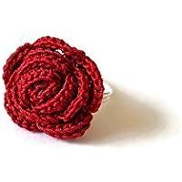 Anello bordeaux rosa gioielli handmade all'uncinetto fiore regalo per lei natura