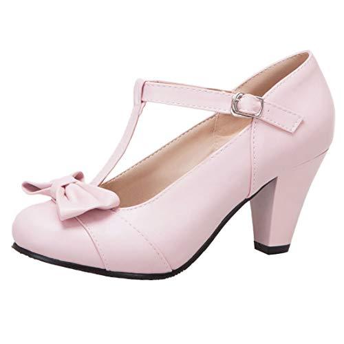 KIKIVA Damen T-spangen High Heels Mary Jane Pumps mit Blockabsatz und Schleife Rockabilly Schuhe(Rosa,34) Rosa Ankle Strap High Heel