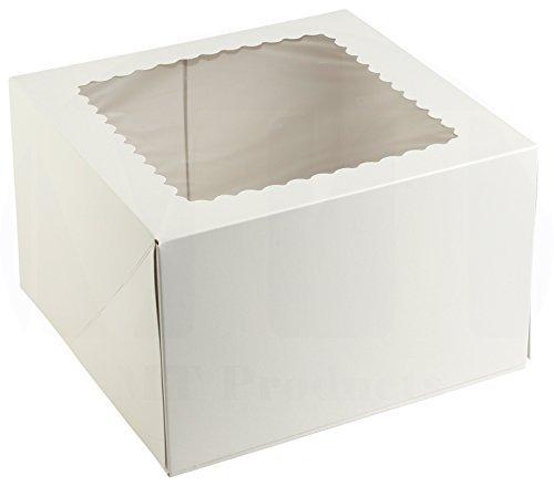 20,3cm Länge x 20,3cm Breite x 12,7cm Höhe weiß Kraft Karton auto-popup Abgerundete Design Fenster Pie/Bakery Box by MT Produkte (15Stück) (Cupcake-container Single)