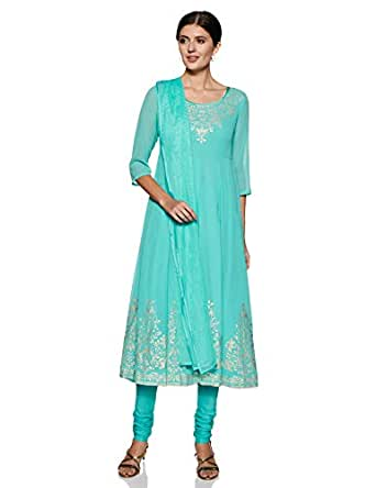 BIBA Women's cotton straight Salwar Suit Set (SKD5903_ Sea Green_ M (34))