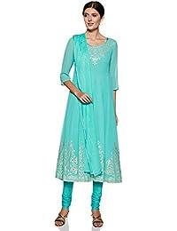 BIBA Women's cotton anarkali Salwar Suit Set