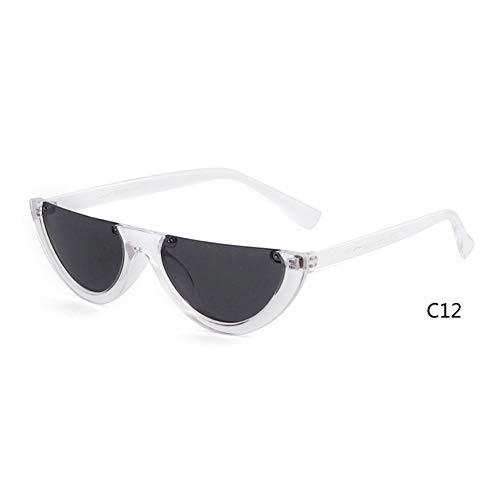 CCGSDJ 2019 Half Moon Schlanke Sonnenbrille Frauen Markendesigner Retro Vintage Rosa Linse Cat Eye Rahmen Sonnenbrille Mädchen Shades