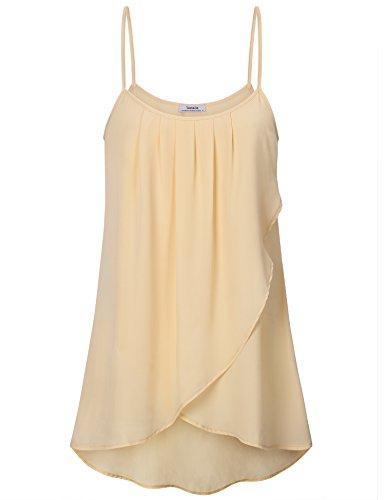 Youtalia Cami Tops für Frauen, Damen Spaghetti Gefaltete Tshirt Süß Cool Chiffon Weste Top,Hellgelb M (T-shirt Spaghetti-top)
