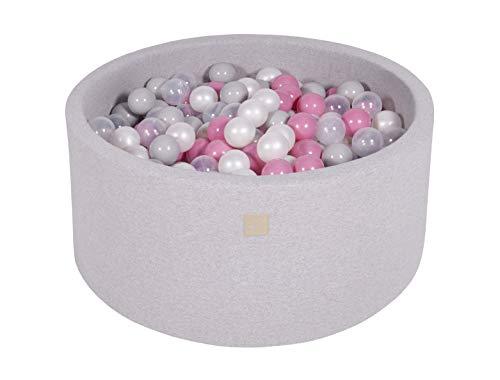 MEOWBABY 90x40cm/300 Balles ∅ 7Cm Piscine À Balles pour Bébé Enfant Rond Fabriqué en UE Gris Clair: Transparent/Perle Blanche/Gris/Rose Pastel