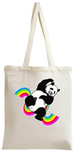 Funny Panda Rainbow Dance Tote Bag