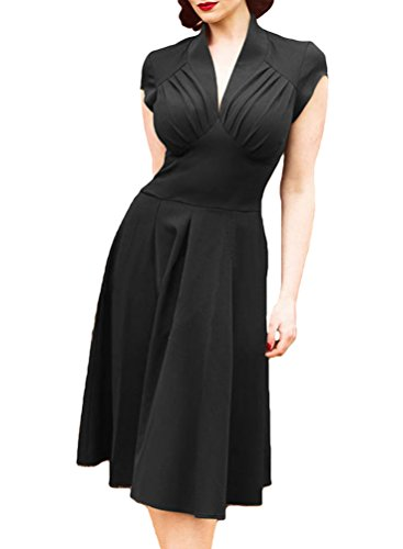 YuanDian Donna Anni 50 Vintage Audrey Hepburn Stile Senza Maniche Elasticità Slim Fit Aderente Midi Vestiti Eleganti Cocktail Sera Partito Pin Up Swing Abiti Nero XL