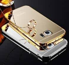 SAMSUNG GALAXY S6 EDGE PLUS-Gold Color-Premium Luxury Metal Bumper Acrylic Mirror Back Cover Case by Wellcare