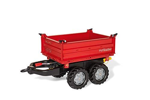 Rolly Toys 123001 rollyMega Trailer | Anhänger in 3 Richtungen kippbar, mit Kurbel und Heckkupplung | Kippanhänger / 2-Achsanhänger für rolly toys Traktoren | ab 3 Jahren | Farbe rot -
