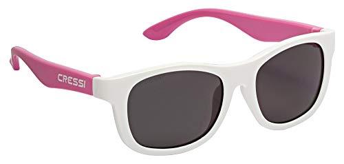 Cressi Unisex- Babys Teddy Sunglasses Polarisiert Kinder Sonnenbrille, Weiß/Rosa/Geräucherte Linse, 0/2 Jahre
