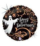 Folienballon Spukgeist Holographic Happy Halloween schwarz orange weiß rund ca. 45 cm ungefüllt (Ballongas geeignet)