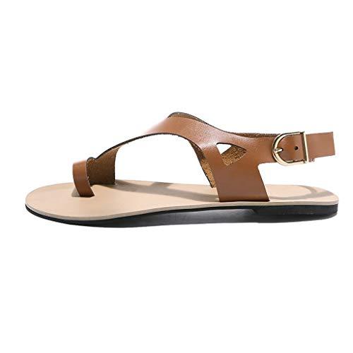 Bazhahei boemia sandali piatti con fibbia donna estive elegant slip-on scarpe peep toe comodo casuale selvaggio sandali da spiaggia donna per shopping lavoro festa,marrone 35-43