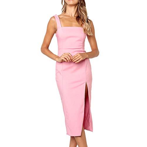 Festes Kleid der Art und Weisepartei Fester Farbe Sling Slit Saum Rock Kleiden Kleider Grün Rosa Gelb(Rosa,S)