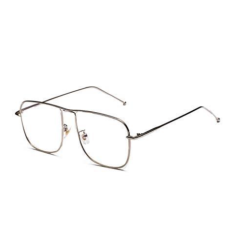 YMTP Vintage Quadratische Brillen Rahmen Männer Gold Metall Brillengestell Frauen, Silber Mit Klar