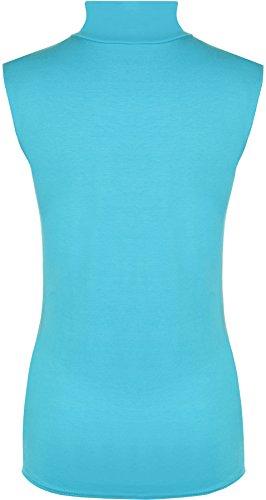 WearAll - Damen Rollkragen Elastisch Ärmellos Unterhemd Bodycon Top - 8 Farben - Größe 36-42 Türkis