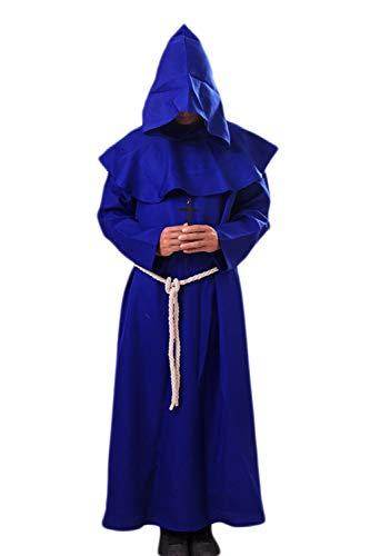 Zamtapary Herren Assistent Priester Roben Hoodies Cosplay Mitte Alter Halloween Kostüme Blau - Assistent Roben Kostüm