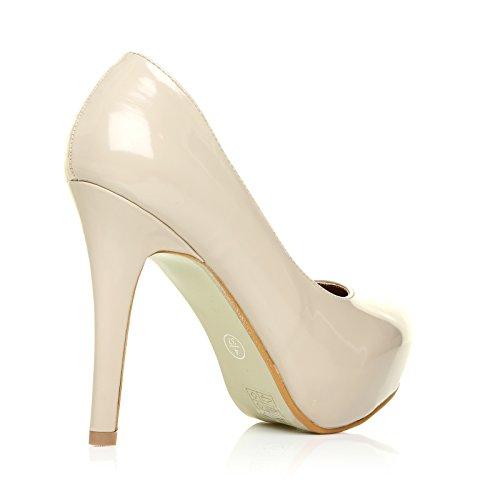 H251 scarpe in pelle sintetica lucida tacchi a spillo color carne plateau nascosto decolleté Carne lucida