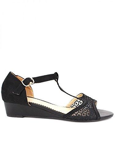 Cendriyon, Compensée Noir CINKAO Mode Chaussures Femme Noir