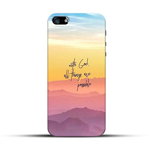 Pikkme Funky Cool Quotes - with God All Things Possible - Blue Orange Mountains Background Designer Printed Hard Back Case and Cover for Apple iPhone 5 / 5s / Se