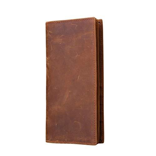 FENICAL Herren Leder Geldbörse Unisex einfache Coint Pocket Kartenhalter Lange Brieftasche Scheckheft Kreditkarte Tote Card Pouch (Hellbraun) -