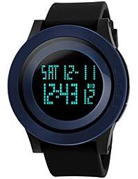 4b6b4f882c6d Zz max Reloj Deportivo Moda Exterior Negocio multifunción Luminoso LED Reloj  electrónico Digital Negro Hebilla de