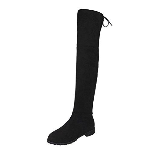 Hffan Damen Schnalle Schlank Hoch über dem Knie Trimmen Flache Stiefel Schuhe Damen Winter Warm Schnee Hohe Stiefel Pelzstiefel Flache Schuhe Overknee Stiefel Flache Stiefel (38, Schwarz) (8 Stiefel Schnee Größe Damen)