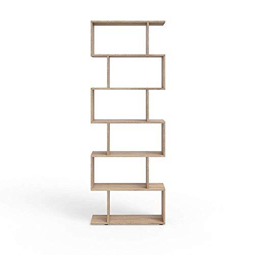 Vicco Libreria Moderna Ideale Come Parete divisoria LEVIO - Libreria Design da appoggio Scaffale portaoggetti Alto Ideale Come Portadocumenti Libreria divisoria (Sonoma)