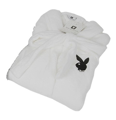 (Playboy Bademantel Saunamantel Morgenmantel aus 100% Polyester, Weiß Gr. L, S)