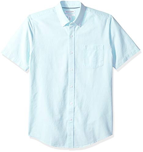 Amazon Essentials Slim-Fit Short-Sleeve Solid Pocket Oxford Shirt Freizeithemd, Blau (Aqua Aqu), US (EU XS) -