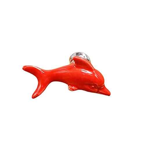 DC CLOUD Knöpfe Ziehen Vintage Türgriffe Und Kasten Küchenschubladen-türknauf Keramikknöpfe Dolphin Griff Schublade Türknauf Vintage Ziehen red - Dolphin Schublade